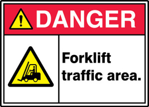 "ANSI ISO Safety Sign - DANGER: Forklift Traffic Area., 10"" x 14"", Pack/10"