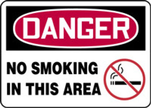"""OSHA Safety Sign - DANGER: No Smoking In This Area, 10"""" x 14"""", Pack/10"""