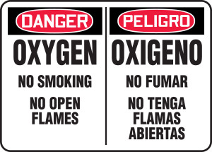 "Bilingual OSHA Safety Sign - DANGER: Oxygen - No Smoking - No Open Flames, 10"" x 14"", Pack/10"