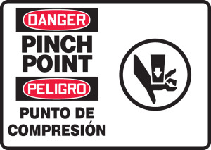 "Bilingual OSHA Safety Sign - DANGER: Pinch Point, 10"" x 14"", Pack/10"