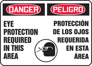"""Bilingual Spanish OSHA Safety Sign - DANGER: Eye Protection Required In This Area, 10"""" x 14"""", Pack/10"""