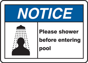 "ANSI Safety Sign - NOTICE: Please Shower Before Entering Pool, 10"" x 14"", Pack/10"