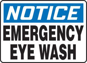 """OSHA Safety Sign - NOTICE: Emergency Eye Wash, 10"""" x 14"""", Pack/10"""