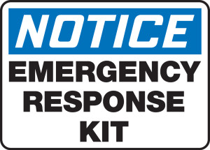 "OSHA Safety Sign - NOTICE: Emergency Response Kit, 10"" x 14"", Pack/10"