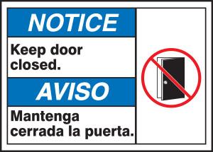 "BILINGUAL ANSI SIGN - DOOR, 10"" x 14"", Pack/10"