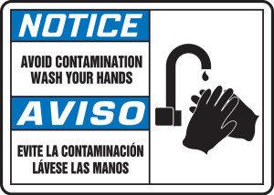 "Bilingual ANSI Safety Sign - NOTICE: Avoid Contamination - Wash Your Hands (Graphic), 10"" x 14"", Pack/10"