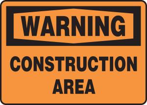 """OSHA Warning Safety Sign: Construction Area, 10"""" x 14"""", Pack/10"""