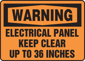 "OSHA Warning Safety Sign: Electrical Panel - Keep Clear Up To 36 Inches, 10"" x 14"", Pack/10"