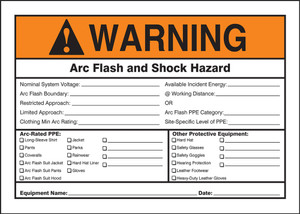 "ANSI Warning Safety Sign: Arc Flash And Shock - Hazard Appropiate PPE Required, 10"" x 14"", Pack/10"