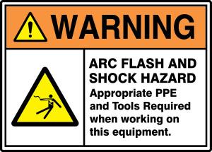 "ANSI ISO Warning Safety Sign: Arc Flash And Shock Hazard, 10"" x 14"", Pack/10"