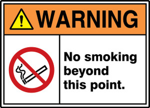 "ANSI ISO Warning Safety Signs: No Smoking Beyond This Point., 10"" x 14"", Pack/10"