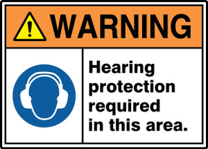 """ANSI ISO Warning Safety Signs: Hearing Protection Required In This Area., 10"""" x 14"""", Pack/10"""