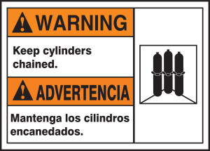 "BILINGUAL ANSI SIGN - CYLINDERS, 10"" x 14"", Pack/10"