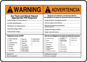 "Bilingual ANSI Warning Safety Sign: Arc Flash, 10"" x 14"", Pack/10"