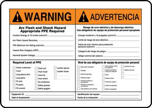 "Bilingual ANSI Warning Safety Sign: Arc Flash, 10"" x 14"", Pack/10"