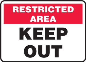 "Admittance & Exit Restricted Area Safety Signs: Keep Out, 10"" x 14"", Pack/10"