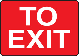 """Safety Sign: To Exit, 10"""" x 14"""", Pack/10"""