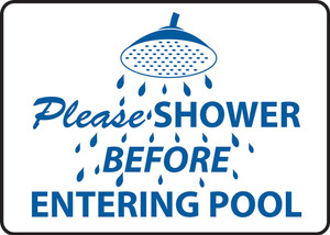"Safety Sign: Please Shower Before Entering Pool, 10"" x 14"", Pack/10"