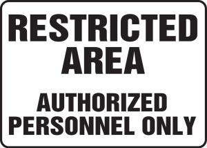"""Safety Sign: Restricted Area - Authorized Personnel Only, 10"""" x 14"""", Pack/10"""