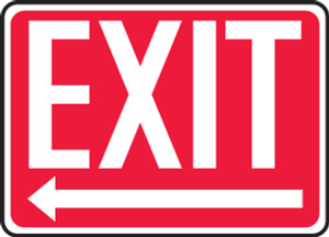 "Safety Sign: Exit (Left Arrow), 10"" x 14"", Pack/10"
