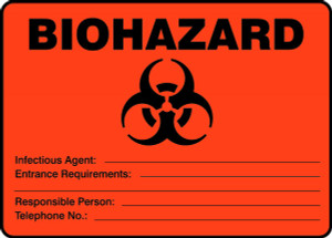 "Biohazard Safety Sign: Infectious Agent - Entrance Requirements, 10"" x 14"", Pack/10"