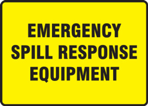 "Safety Sign: Emergency Spill Response Equipment, 10"" x 14"", Pack/10"