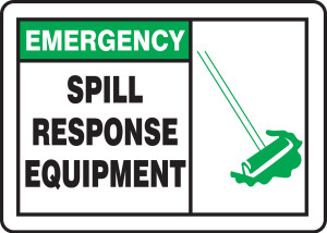 "Emergency Safety Sign: Spill Response Equipment, 10"" x 14"", Pack/10"