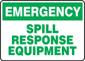 "Emergency Chemical Safety Sign: Spill Response Equipment, 10"" x 14"", Pack/10"