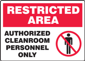 "Restricted Area Safety Sign: Authorized Cleanroom Personnel Only, 10"" x 14"", Pack/10"