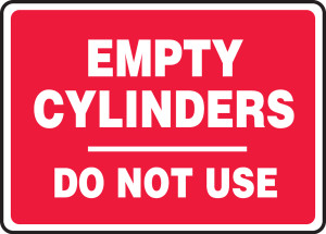 "Safety Sign: Empty Cylinders Do Not Use, 10"" x 14"", Pack/10"