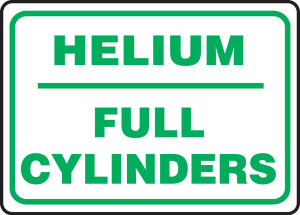 "Safety Sign: Helium - Full Cylinders, 10"" x 14"", Pack/10"