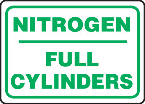 "Safety Sign: Nitrogen - Full Cylinders, 10"" x 14"", Pack/10"