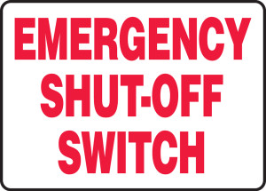"""Electrical Sign: Emergency Shut-Off Switch, Red Text, 10"""" x 14"""", Pack/10"""