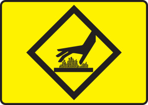 """Safety Sign - Hot Surfaces (Pictogram), 10"""" x 14"""", Pack/10"""
