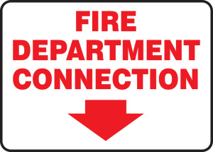 "FDC Reflective Sign: Fire Department Connection (Arrow), 10"" x 14"", Pack/10"