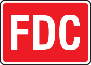 """FDC Reflective Sign: FDC (White On Red), 10"""" x 14"""", Pack/10"""