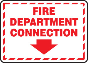 "FDC Reflective Sign: Fire Department Connection (Border And Arrow), 10"" x 14"", Pack/10"