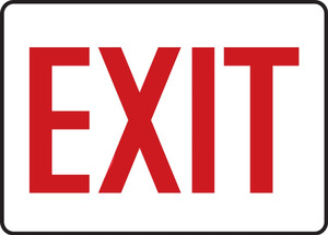 """Safety Sign: Exit, 10"""" x 14"""", Pack/10"""
