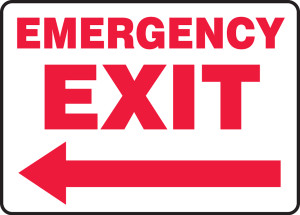 """Safety Sign: Emergency Exit (Left Arrow), 10"""" x 14"""", Pack/10"""