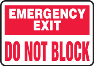 """Safety Sign: Emergency Exit - Do Not Block, 10"""" x 14"""", Pack/10"""