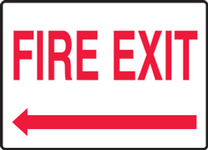 """Safety Sign: Fire Exit (Left Arrow), 10"""" x 14"""", Pack/10"""