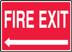 """Safety Sign: Fire Exit (Left Arrow White Text On Red Background), 10"""" x 14"""", Pack/10"""