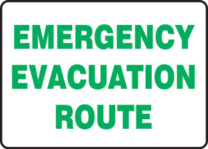 """Safety Sign: Emergency Evacuation Route, 10"""" x 14"""", Pack/10"""