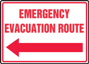 """Safety Sign: Emergency Evacuation Route (Left Arrow), 10"""" x 14"""", Pack/10"""