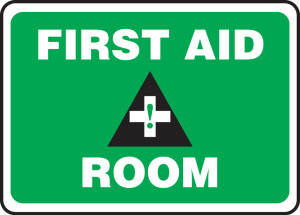 "Safety Sign: First Aid Room, 10"" x 14"", Pack/10"