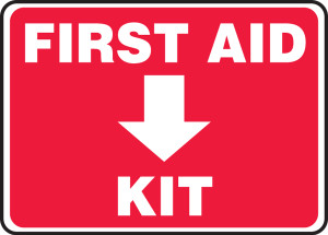 """Safety Sign: First Aid Kit, 10"""" x 14"""", Pack/10"""