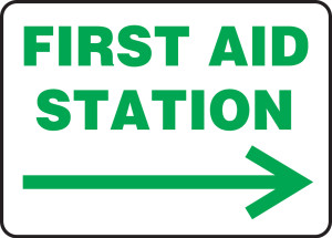 "Safety Sign: First Aid Station, 10"" x 14"", Pack/10"