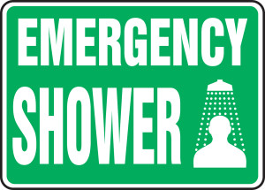 "Safety Sign: Emergency Shower, 10"" x 14"", Pack/10"