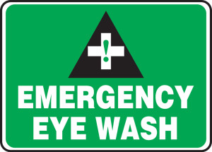 "Safety Sign: Emergency Eye Wash, 10"" x 14"", Pack/10"