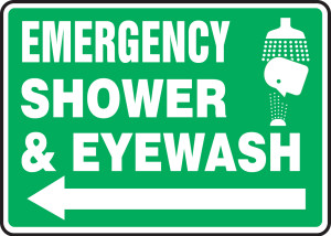 "Safety Sign: Emergency Shower And Eyewash (Graphic And Arrow), 10"" x 14"", Pack/10"
